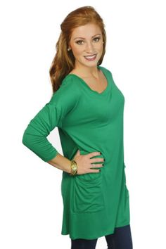Green Tunic w/ Buttons//Perfect with a scarf, boots, and leggings