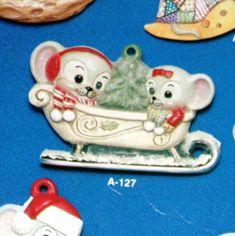 Vintage Alberta/'s Mice in Sleigh Xmas Slip Casting Ceramic Porcelain Clay Mold