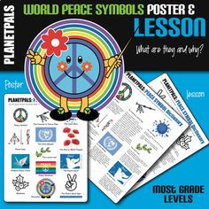World Peace Symbols & Signs Informative History Lesson Set Distance Learning World History Teaching, World History Lessons, Study History, Symbol Dictionary, World Peace Day, Peace Poster, History Images, Learning Objectives, Clip Art