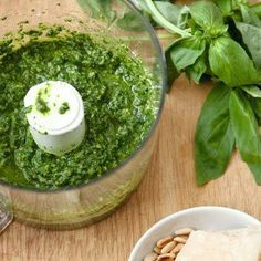The best pesto recipe with basil, pine nuts and parmesan that can easily be made dairy- and gluten-free. Easy Healthy Recipes, Healthy Cooking, Easy Meals, Healthy Eating, Cooking Recipes, Uk Recipes, Vegetarian Recipes, Homemade Pesto, Homemade Sauce