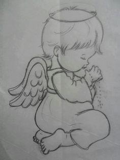 Galeria Disney Drawings Sketches, Girl Drawing Sketches, Girly Drawings, Baby Drawing, Art Drawings For Kids, Art Drawings Sketches Simple, Pencil Art Drawings, Angel Drawing, Christmas Drawing
