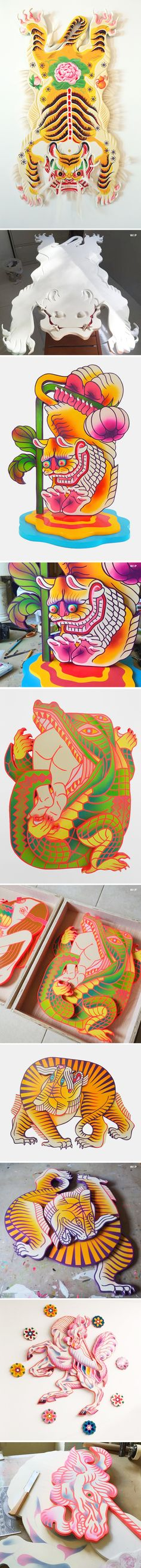 Tigers, alligators, unicorns… hell YES, to all of this goodness. These 3D paintings are the work of Florida based artist Boy Kong.