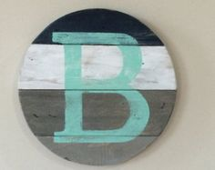Nursery name initial wood sign. Letter J. Last Name Initial