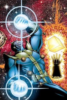 Thanos with the Cosmic cube, the Infinity Gauntlet, and the Heart of the Universe Thanos Marvel, Marvel Villains, Marvel Comics Art, Marvel Comic Universe, Comics Universe, Marvel Vs, Comic Book Artists, Comic Artist, Comic Books Art