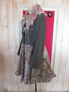 L XL Boho Funky Wool Coat Lined Upcycled by NewLoveStory on Etsy