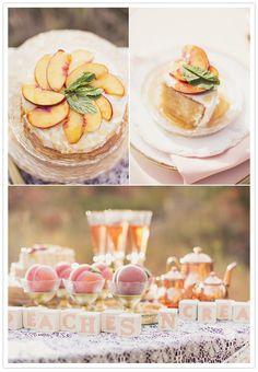 Sliced thin apples on top Utah Events by Design: Peach and plum wedding inspiration featured on 100 Layer Cake Peach Bridal Showers, Peach Baby Shower, Baby Shower Cakes, Peach Party, Peach Cake, Plum Cake, Beautiful Baby Shower, Cream Wedding, 100 Layer Cake