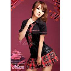 コスプレ 黒×赤チェック ミニスカ女子制服 コスチューム - 拡大画像