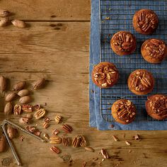 Sticky-Bun Pumpkin Muffins by Southern Living. Muffin cup capacity will vary depending on pan manufacturer. Yield may increase if smaller muffin cups are used.