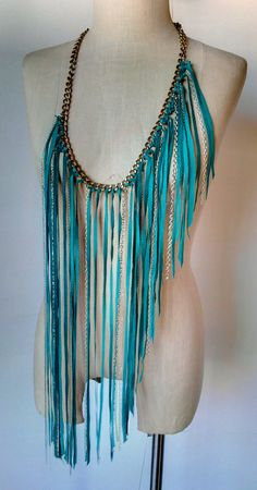 Turquoise Leather and Chain Fringe Belt Dee Rubio by DeeRubio