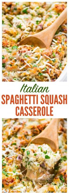 Healthy Spaghetti Squash Casserole with ground turkey, tomatoes and Italian spices. Easy, CHEESY, and always a crowd pleaser. Low carb, gluten free, and packed with protein! #lowcarb #italian #healthy