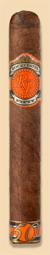 "Rocky Patel Fifty Robusto - FACTORY LOCATION: Nicaragua  WRAPPER: Ecuador  BINDER: Nicaragua  FILLER: Nicaragua  PRICE: $19.00   RING GAUGE: 50  LENGTH: 5 1/2""  RATING: 93"