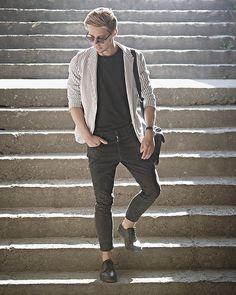 White Striped Blazer, H&M Basic Black Tee, Zara Black Cropped Pants, Pull & Bear Black Leather Shoes, Primark Black Leather Bag, Primark Black Sunglasses .  Men's outfit