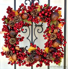 Fall Wreath Painted Pine Cone Craft