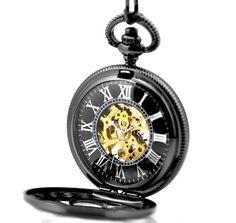 Skeleton Black Pocket Watch Mechanical Hand Wind Half by peahenLee, $16.99