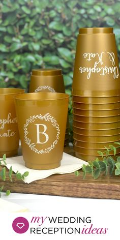 Gold Frosted Wedding Cups - These reusable gold frosted wedding cups personalized with a large single initial inside a floral wreath look like a million bucks and they'll be a gem at your wedding reception for guests to use and take home. Wedding Plastic Cups, Wedding Cups, Gold Wedding, Wedding Favors, Wedding Reception, Wedding Decorations, Wedding Ideas, 40th Bday Ideas, Tumbler Designs