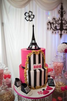Black and white striped on top of hot pink with gold accents from a Paris Birthday Party at Kara's Party Ideas. 12 Year Old Birthday Party Ideas, 16th Birthday Cake For Girls, Paris Birthday Cakes, Paris Themed Cakes, Paris Themed Birthday Party, Elegant Birthday Cakes, Paris Cakes, Girls Birthday Party Themes, 10th Birthday Parties