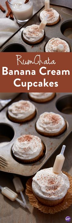 RumChata Banana Cream Cupcakes Recipe - These moist and fluffy cupcakes only get better once you add a Shot Topper of RumChata to get that special cinnamon-kick. This recipe is the perfect addition to any girls' night, bachelorette party, wedding party or brunch. This recipe is all you need for a fun, infused burst of flavor.