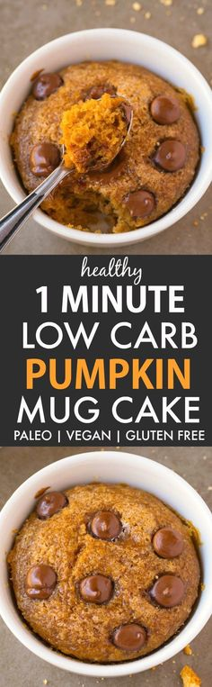 Healthy 1 Minute Low Carb Pumpkin Mug Cake (V, GF, P, DF)- A fool-proof, guilt-free mug cake recipe loaded with pumpkin flavor and super fluffy and light! Oven option included! {vegan, gluten free, paleo recipe}- thebigmansworld.com #pumpkin #mugcake
