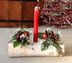 This rich red birch yule log will be a great addition to your Christmas mantle or on your table as the centerpiece. It comes just as pictured, Christmas Candle, Christmas Time, Christmas Wreaths, Christmas Crafts, Christmas Bedroom, Christmas Wedding, Log Centerpieces, Christmas Centerpieces, Christmas Decorations