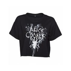 Ladies Black Alice Cooper Splatter Slouchy Cropped T-Shirt ($44) ❤ liked on Polyvore featuring tops, t-shirts, slouchy tops, crop top, slouch tee, crop t shirt and crop tee