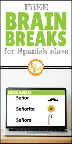 Brain Breaks for Spanish Class - FREE Google Slides! - Srta Spanish