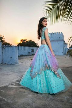30 Trendy Sangeet Outfit Ideas for the Bride is part of Sangeet outfit - Latest trends in Beauty, Fashion, Indian outfit ideas, Wedding style on your mind We have something for you! Indian Lehenga, Indian Gowns, Indian Attire, New Lehenga, Blue Lehenga, Silk Lehenga, Indian Wear, Indian Fashion Dresses, Dress Indian Style