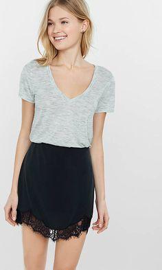 Charcoal Lace Hem Mini Skirt from EXPRESS