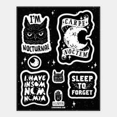 Seize the Night with these funny night based stickers perfect for the nocturnal owl with insomnia and a bad case of the munchies , staying up late blogging, marathoning shows, eating pizza,... | Beautiful Designs on Stickers, Sticker Sheets and Vinyl Stickers with New Items Every Day. Satisfaction Guaranteed. Easy Returns.