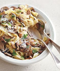 Fettuccine with Wild Mushrooms, Pancetta and Thyme. Garnish with freshly grated Parmesan cheese.