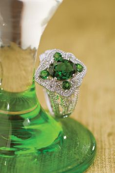 Chrome #diopside and white #topaz #ring in silver