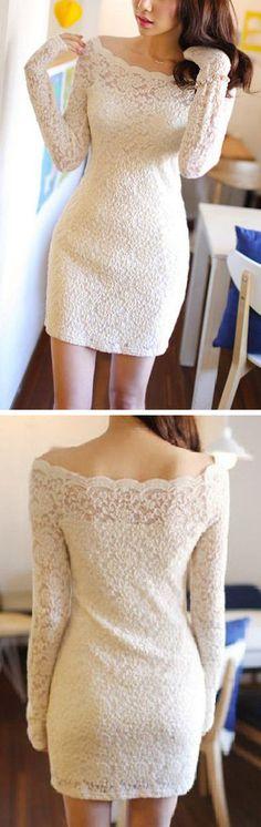 White Lace Long Sleeve Dress