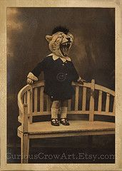 Niles Ballentine...    Anthropomorphic photo manipulation of a Victorian photo.    www.etsy.com    -By Curious Crow Art-