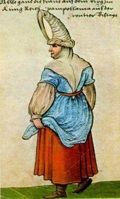 """Basque Woman.  Ch Weiditz, """"Trachtenbuch"""", 1529."""