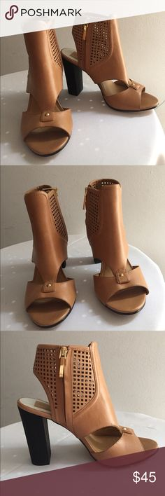 """Dolce Vita Nona Leather sandals heels Sz 8 New. Never worn.  Dolce vita Carmel color (tan) Sz 8 Open toe - Leather construction - Cutout and perforated detail - Side zip closure - Approx. 4"""" shaft height, 9.75"""" opening circumference - Approx. 4"""" heel Dolce Vita Shoes Sandals"""