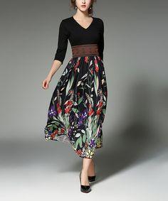 Another great find on #zulily! Black & Green Floral Three-Quarter Sleeve V-Neck Dress #zulilyfinds