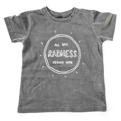 """Radness"" Pigment-Dyed Tee ❤ liked on Polyvore featuring tops, t-shirts, pigment dyed t shirts, unisex tops, vintage style t shirts, raw edge t shirt and unisex t shirts"