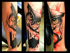 Awsome Owl Trash polka tattoo