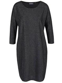 Černé třpytivé oversize šaty s 3/4 rukávy Broadway Vissia Broadway, High Neck Dress, Model, Sweaters, Dresses, Fashion, Dark Around Eyes, Turtleneck Dress, Vestidos