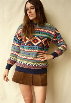 1980's Vintage Aztec Pattern Knitted Retro Jumper