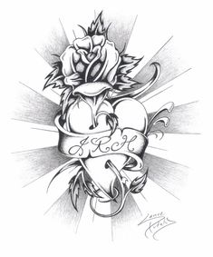 Sketches of Hearts and Roses   Heart, Rose, and Initials by akaSharpie on deviantART