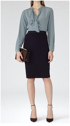 Reiss Dalane Knitted Pencil Skirt