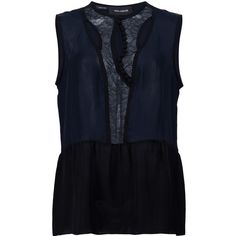 Yigal Azrouel 'Lace Placket' tank (2.340 BRL) ❤ liked on Polyvore featuring tops, blue, lace top, lacy tank tops, yigal azrouel top, blue lace top and blue lace tank top