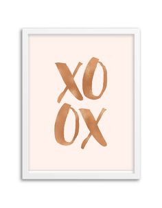 Our XOXO foil art print is the perfect addition to your home or office! Printed with gold, rose gold or silver foil on your choice of premium cardstock paper.  Sizes: 5″x7″ or 8″x10″ Paper Color Choices: white, cream, kraft, black, navy, aqua, mint, hot pink, light pink or pale pink Printed with real foil in gold, rose gold or silver Frame not included Ships in a flat protective sleeve Designed and printed in the U.S.A.