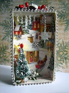 Christmas card shadow box make shaman Santa with mushrooms and deer with different back ground: