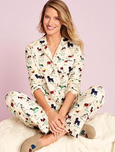 Wear it to bed or wrap it up as a gift. Soft, warm and cozy, our Dogs & Cats Flannel Sleep Set is woven to perfection, so you can get a good night's sleep. | Talbots
