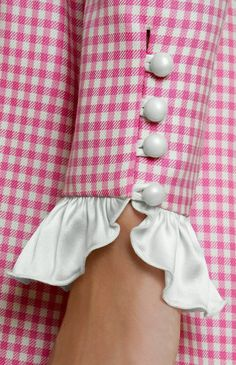 Pink gingham with pearls.