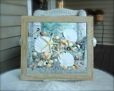 Beach Decor of Seashell Art, Beach Bathroom Decor Wall Hanging, Coastal Wall Art of Shells on Glass, Coastal Decor of Seashell Glass Art Coastal Wall Art, Beach Wall Art, Coastal Decor, Seashell Art, Seashell Crafts, Types Of Shells, Window Art, Window Panes, Rustic Frames