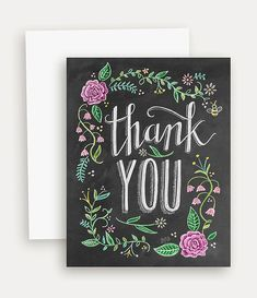 Floral Thank You with Color Card Thank You Chalkboard Art Floral Blackboard Card Hand Lettering- Chalk Art Letting Inspiration Blackboard Art, Chalkboard Lettering, Chalkboard Designs, Art Floral, Note Cards, Thank You Cards, Lily And Val, Hand Drawn Flowers, Blackboards