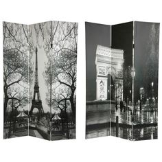 Oriental Furniture 6 ft. Tall Double Sided Paris Canvas Room Divider - Eiffel Tower/Arc de Triomphe - 3 Panel, Gray