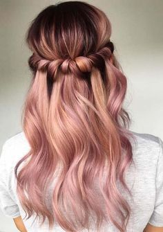 In this post you can see the most amazing ideas of half up half down rose gold ombre hairstyles to wear in year 2018. Rose gold is one of the best hair colors nowadays to apply for long, medium and short haircuts. Women who are looking for fresh styles of long hair, they are advised to visit this page for updated ideas.